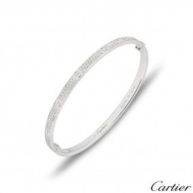 Cartier White Gold Pave Diamond SM Love Bracelet Size 17 N6710817